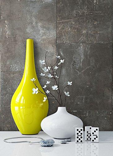 Tapete Metalloptik in Grau | schöne moderne Tapete für Ihr Wohnzimmer | inklusive der Newroom Tapezier Profibroschüre mit Tipps für perfekte Wände