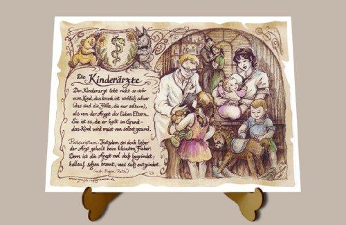 Die Staffelei Geschenk Kinderarzt Kinderärzte Arzt Doktor Zeichnung Color 30 x 21 cm mit Aufsteller