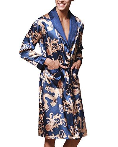 Morgenmantel Satin Pyjama Couple Herren Kimono Damen Nachthemd Nachtwäsche Set Königsblau XX-Large