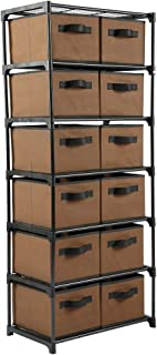 Home-Like12 Drawer Storage Organize, Fabric Chest Dresser, Chest of Drawers, 6 Tier Metal Shelves with 12 Removable Fabric Bins, Storage Organizer Tower for Home Office Dorm Bedroom Entryway,Brown