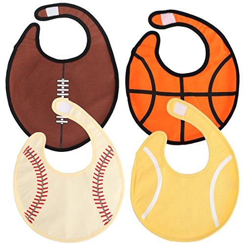 KF Baby 4pc doux étanche 3 couches Coton absorbant Wrap Sports Balle Bavoirs de