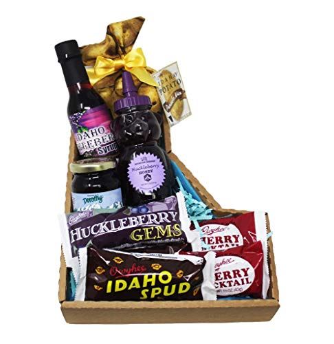 Unique Idaho Food Basket Creatively Arranged in a Gem State Souvenir Box