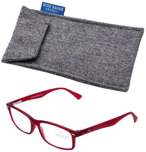 Blue Badge Force Plus 1 Rouge Cadre Montana Lunettes de lecture avec étui rembourré en tweed prêt à porter
