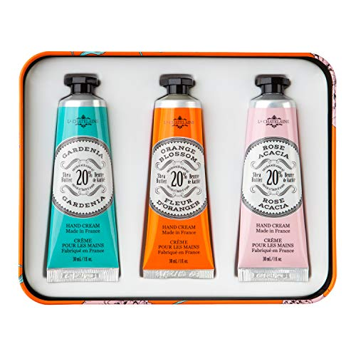 La Chatelaine Hand Cream Trio, Plant-Based, Made in France with 20% Organic Shea Butter (Gardenia, Orange Blossom , Rose Acacia, or Passion Fuit or Cherry Almond) 3 x 1 oz