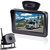AMTIFO A5 HD 1080P Digital Wireless Backup Camera with 5'' Monitor System ForTruck,RV,Motorhome,Trailer High-Speed Observation Camera Adjustable Rear/Front View, Guide Lines ON/Off,IP69K Waterproof