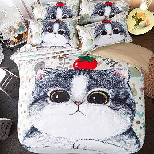 3D Bettdecke mit Tier- und Katzendruck, süßes Hundebettwäscheset, 4-teiliges Bettwäscheset, King Size, volles Einzelbett, Doppelbett, flaches Laken,1.8m Bettlaken