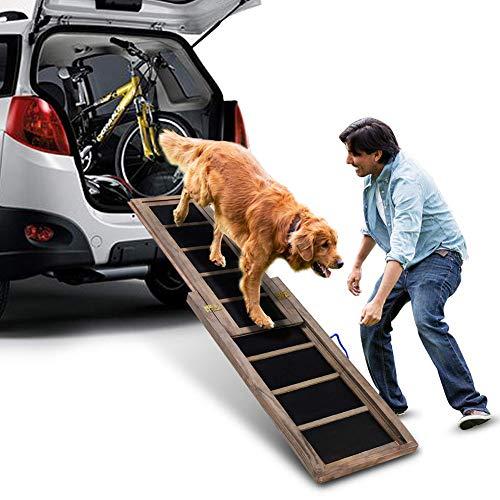ZZQ Haustierrampe, Teleskop-Hunderampe, 98 cm-166 cm, rutschfeste, tragbare Holz-Haustiertreppenleiter, perfekt für Hunde im und aus dem Auto
