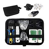 HIRALIY Netzwerk Werkzeug Set, 16tlg Auflegewerkzeug, Professionell Reparaturwerkzeuge Set, LAN Kabel Tester für RJ45, RJ11, RJ12 (Verbesserte Crimpzange & Abisolierzange)