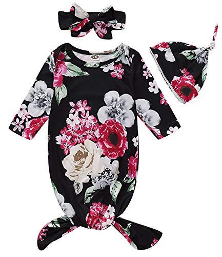 Juego de vestidos de algodón recién nacido para bebé niña tomando casa traje vestido y diadema - negro - 0-3 meses