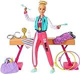 Barbie- Playset Ginnasta Bambola Snodabile con Bilanciere e Accessori Giocattolo per Bambini 3+ Anni,...