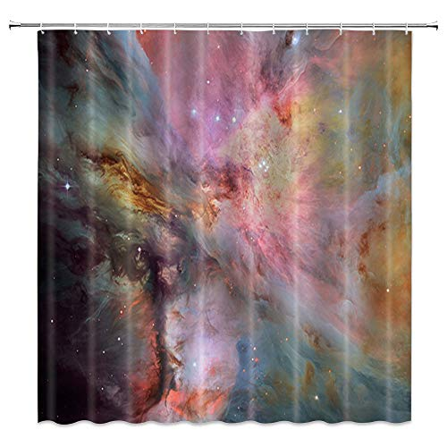 AMNYSF Colorful Fantasy Cosmos Nebula Material Energy Decor Shower Curtain Purple Blue Yellow Pink,70x70 Inches Waterproof Polyester Fabric Bathroom Accessories Curtains with 12pcs Hooks