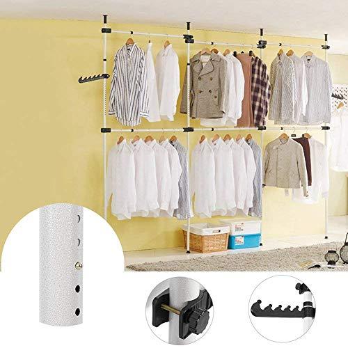 Cocoarm Teleskop Garderoben System Kleiderstangen mit 6 Stangen Kleideraufbewahrungssystem Regalsystem (6 Stangen)