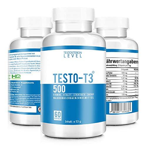 TESTO-T3 500 - HARDCORE BOOSTER - Extrem Hochdosiert - Testo-T3 KUR mit hochwirksamen Wirkstoffen - Beliebt im Bodybuilding, Gym und Muskelaufbau - Motivation und Focus - 60 Kapseln