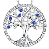 September Birthstone Blue Sapphire Necklace for Mom Wife Birthday Gifts Tree of Life Pearl Necklace Sterling Silver Fine Jewelry for Daughter