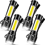 4 Pieces USB Rechargeable Flashlight 3 Modes, Bright LED Handheld Flashlight with COB Side Lights Portable Flashlights for Camping, Hiking, Emergency and Daily Use