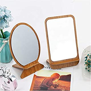 PRAMUKH PUBLICITY Wooden Makeup Mirror Pack of 2 for Bathroom Bedroom Living Room (1 X Round, 1 X Square)
