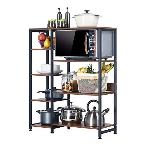 Rejilla de horno microondas, estante de almacenamiento de madera de acero, estante de cocina, estante de utensilios de cocina, estante de cubiertos soporte moderno 4 layers negro