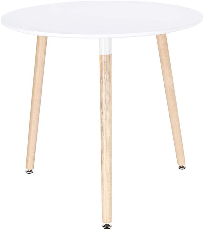 Brand new CangLong Modern Round Virginia Beach Mall Side Table in Beech f White Wood Legs with