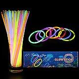 Trimming Shop 50 Barritas Luminiscentes con Conectores Neón Brillante Brazaletes para Fiesta Suministros, Cumpleaños, Recuerdos de Boda, Colores Mezclados Luz Varillas