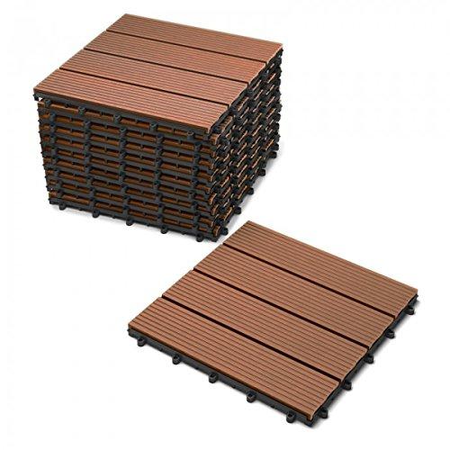 SAM Terrassen-Fliese WPC Kunststoff, 11er Spar Set für 1m², Farbe teak, Garten Klick-Fliese, Bodenbelag mit Drainage