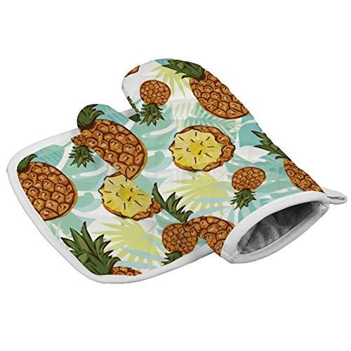 Juego de manoplas de horno resistentes al calor y agarraderas, superficie antideslizante, jardín tropical con guantes de cocina de piña para cocinar, hornear, asar a la parrilla y regalos de cocina