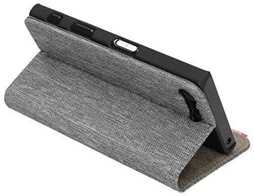 mumbi Bolsa estilo de libro fineline compatible con Sony Xperia X Compact, (Textile look), gris