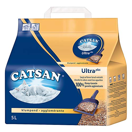 CATSAN Ultra Plus – Katzenstreu aus feinen natürlichen Tonkörnchen – 1 x 5 Liter