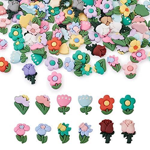 Fashewlery - 120 unidades de cabujones de resina opaca, varios colores de resina, cabujones florales de color rosa, cabujones de limo, para manualidades, funda de teléfono, marco de fotos, decoración