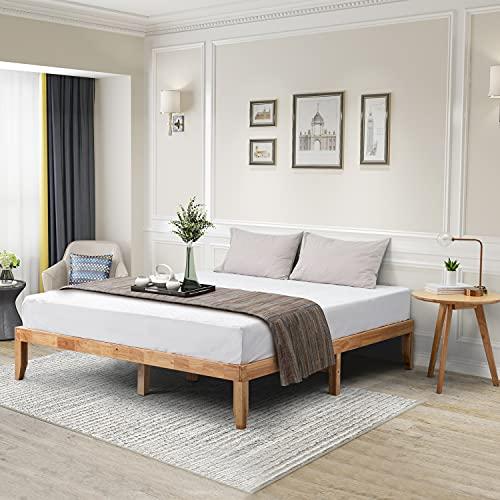 Wonline Wood Platform Bed Frame Solid Wood Foundation No Box Spring Needed Wooden Slat Support Oak Wood Natural Finish Home Bedroom Furniture Platform Base