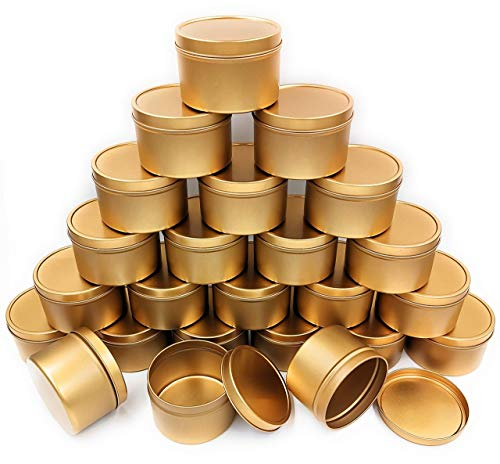 NRANSON Candle Jars with Lids for Making Candles Bulk, Candle Tin 24 Piece, 8 oz, for DIY Candle Making (Rose Gold)