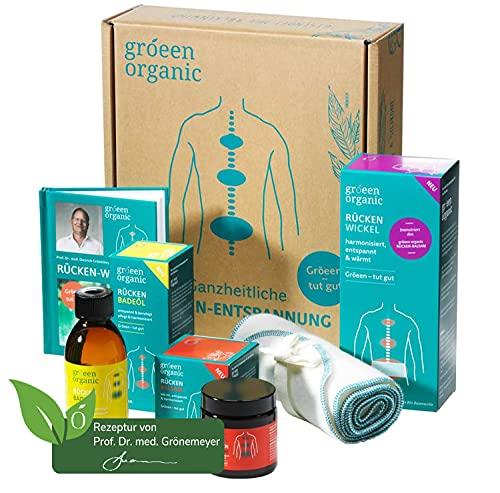 gröeen organic Rücken-Wellness-Box als Set im Geschenkkarton – hochwertige ausgewählte Produktsammlung gegen Rücken-Verspannungen und zur Muskelentspannung für Körper, Geist und Seele