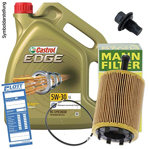 Ölwechsel Set Inspektion 5L Castrol Titanium FST LL 5W-30 Öl Motoröl + MANN Ölfilter + Öl Ablassschraube Verschlussschraube