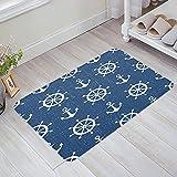 OPLJ Anchor Geometry Blue Stripe Arrow Felpudo Alfombra Antideslizante Alfombras de baño Suministros de baño Alfombra Living Felpudo A8 50x80cm