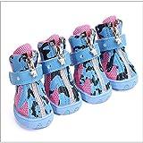 BXGZXYQ Zapatos De Perro, Malla Transpirable, Zapatos Deportivos, Moda, Patrón De Vaca, Correas De Personalidad, Perro Caminando, Zapatos (Color : Azul, Size : 3#)