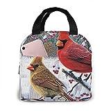 shenguang Bolsa de almuerzo con aislamiento portátil, Cardinal Birds, organizador de almuerzo a prueba de agua, cierre de cremallera, bolsa de asas para preparación de comidas para el trabaj