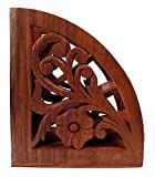 Nirvana Class Wooden Floral Carved Remote Control Holder Rack Stand Storage Organizer Home Office Decor