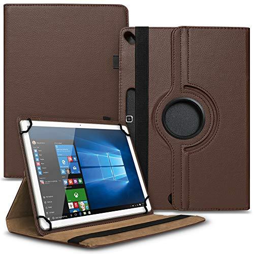 Tasche Hülle kompatibel für Archos 101b Oxygen Tablet Cover Schutz Hülle Schutzhülle 360° Drehbar, Farbe:Braun
