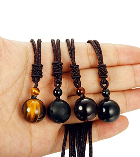 LOYALLOOK Unisex Natural Tiger Stone Onyx Stone Lucky Blessing Chakra Beads Pendant Adjustable Healing Necklace 4pcs