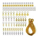 HSDCK 120 Stück Haarschmuck Ringe Aluminium Haarschmuck Haar Ringe und Manschetten Schmuck-Anhänger mit 100 m Metallic Cord Gold-und Silber