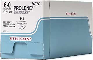 Ethicon PROLENE Polypropylene Suture, 8697G, Synthetic Non-absorbable, P-1 (11 mm), 3/8 Circle Needle, Size 6-0, 18'' (45 cm)