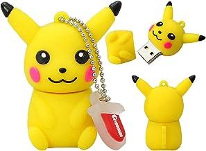 Memoria USB Pen Drive Flash USB 2.0 Dibujo Animado Pokémon Pikachu Venta en Gran Serie U-Disco Creativo Llave Cadena Portátil Alta Velocidad Transmisión de Datos Pikachu 1 2pcs 8 gb