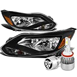 For Ford Focus 3rd Gen MK3 Pair of Black Housing Amber Corner Headlight + H8 LED Conversion Kit W/Fan