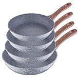 San Ignacio Granito - Set de 4 sartenes (20-24-26-28 cm), alumino forjado antiadherente, apto para todo tipo de cocinas incluido inducción