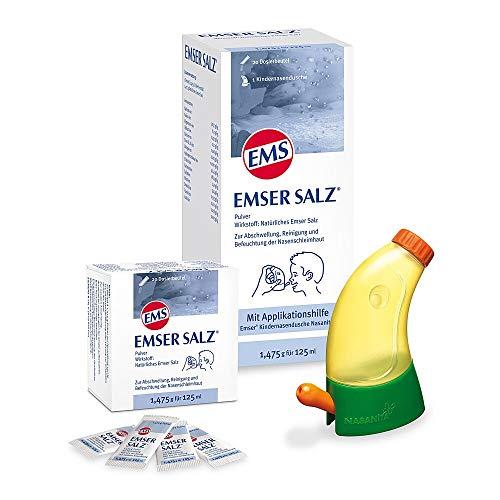 Emser Salz Kombipackung – Emser Kindernasendusche Nasanita inkl. 20 Emser Salz Portionsbeutel. Bei akuten Infektionen der oberen Atemwege, bei chron. Nasennebenhöhlenentzündungen – 20 x 1,475 g