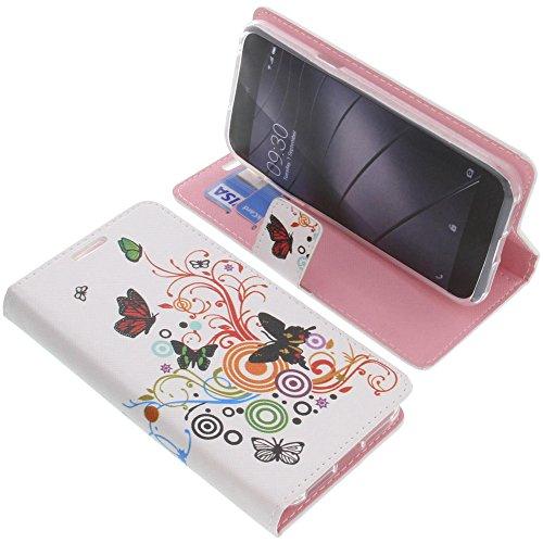 foto-kontor Tasche für Gigaset Me Pure Book Style Schmetterlinge Schutz Hülle Buch