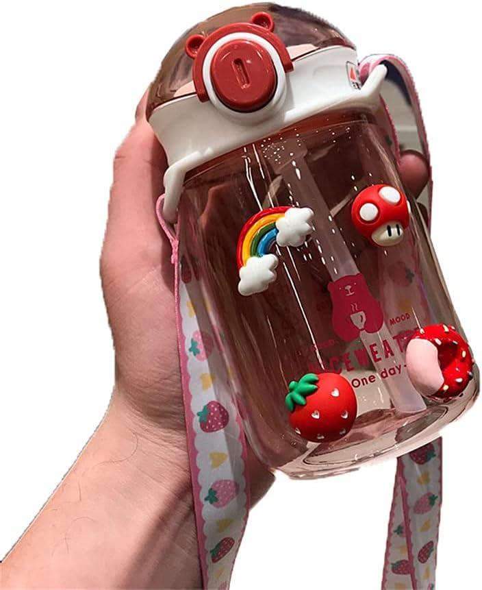 AOTEMAN Taza de agua para niños con spray de agua para verano, de plástico, para niños, con pajita, a prueba de goteo, botella de agua, ideal para el trabajo, viajes, deportes, 420 ml (rosa)