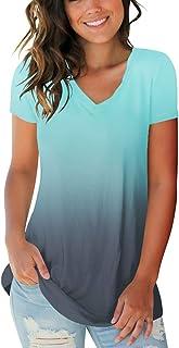 Women's Basic V Neck Short Sleeve Floral T Shirts Summer...