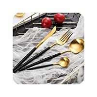 安い金食器セットステンレス鋼カトラリー4ピース西洋食品食器高級フォークティースプーンナイフカトラリーセット、photo10として4ピース