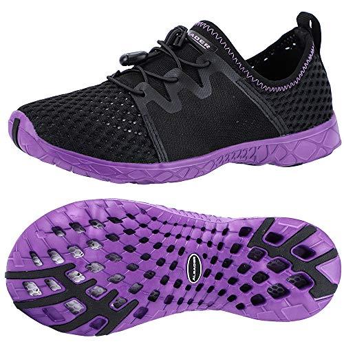 ALEADER Womens Walking Shoes, Xdrain Adventure Beach Water Shoes Black/Purple 9 D(M) US