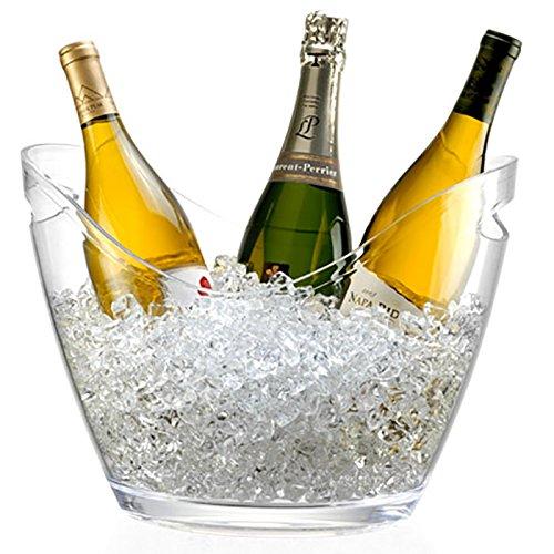 Générique Seau à Champagne 3 Bouteilles - pour Champagne, Seau à Glace - Transparent